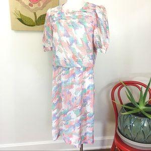 Vintage 80's Pastel Paint Splash Secretary Dress